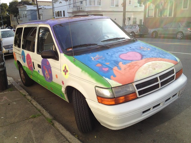 Colorful painted van