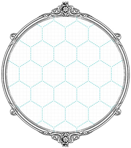 4 Turquoise Large Stitched Hexagon - free printable digital patterned paper set SAMPLE
