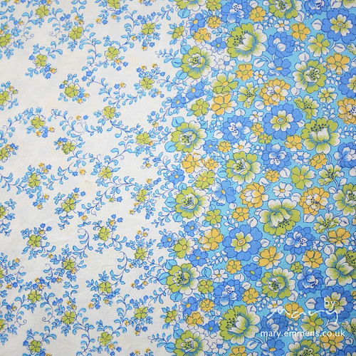 Vintage sheet - blue/yellow floral