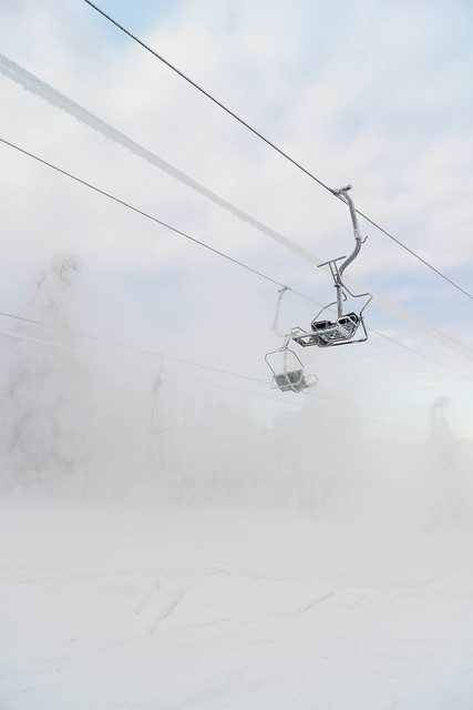 Frozen ski lift
