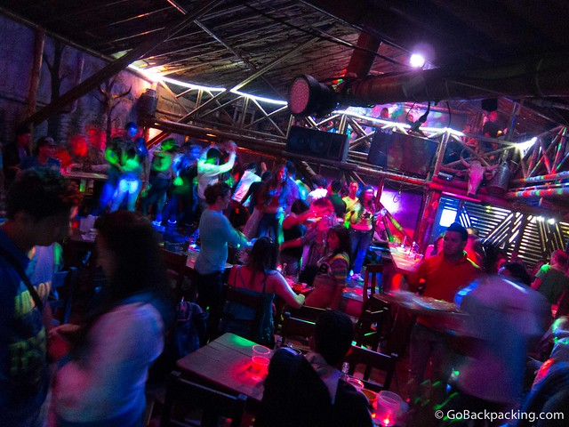Inside El Potrero discoteca, around 12:30 AM on a Saturday night