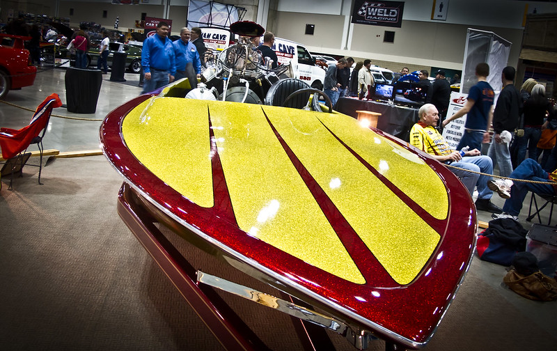picture of a custom painted speedboat with a large blower motor