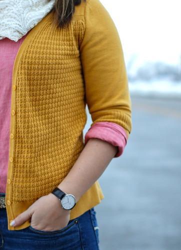 mustard, pink