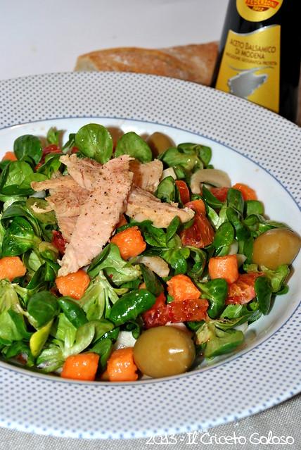 Insalata di songino alle arance, tonno e salmone (2)