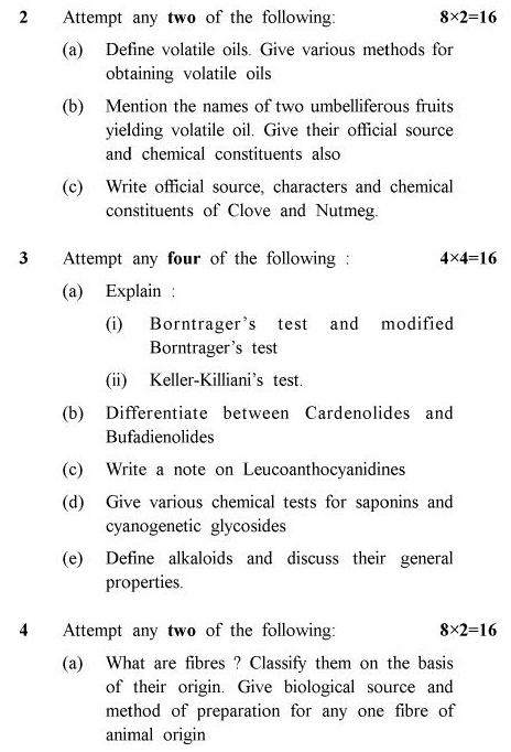 UPTU B.Pharm Question Papers PHAR-243 - Pharmacognosy-II