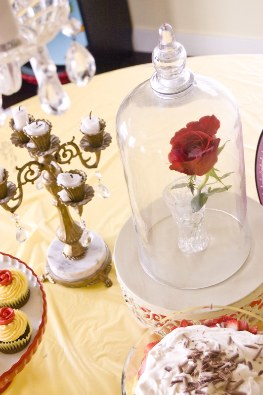 Beauty and the beast centerpiece wednesday the style sisters for Rose under glass