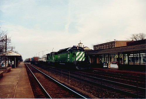 Westbound Burlington Northern freight train.  Western Springs Illinois.  Early April 1989. by Eddie from Chicago