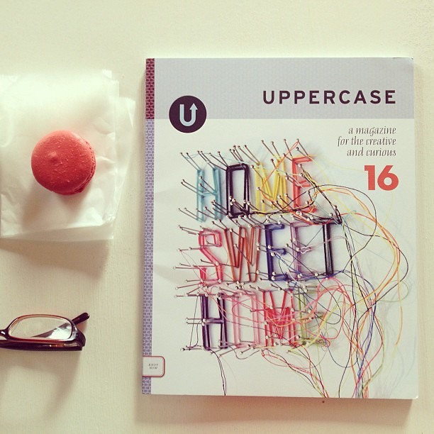 Just me, a macaroon and my first issue of @UppercaseMag at the wonderful @BakeryLorraine