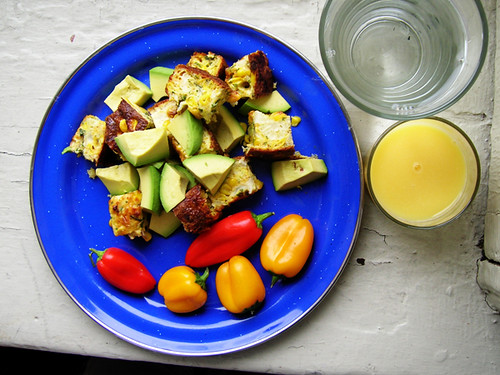 cauliflower and corn egg bites, avocado, mini pepper, OJ and water