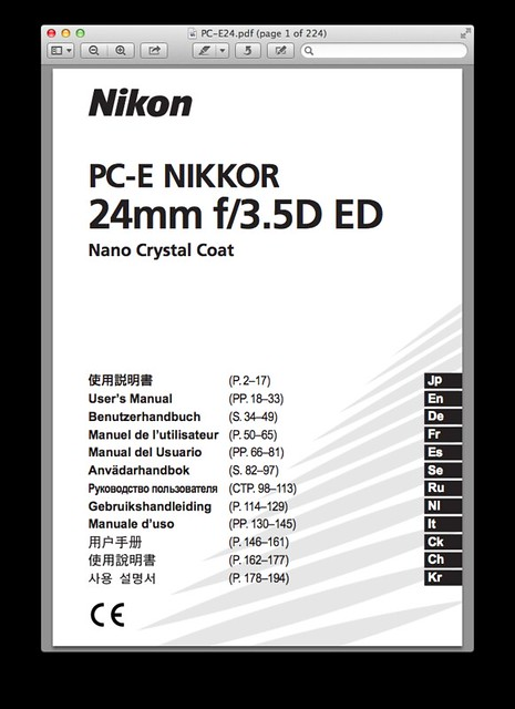 Nikon 24mm f/3.5D PC-E Manual