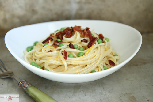 Creamy Lemon Pasta with Baon and Peas
