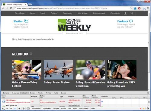 Missing article at the 'Moonee Valley Weekly' website