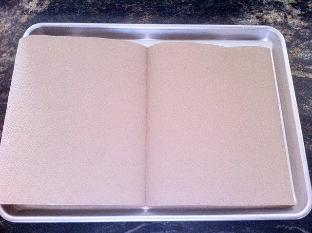 Half Sheet Pan Lined with Paper Towels