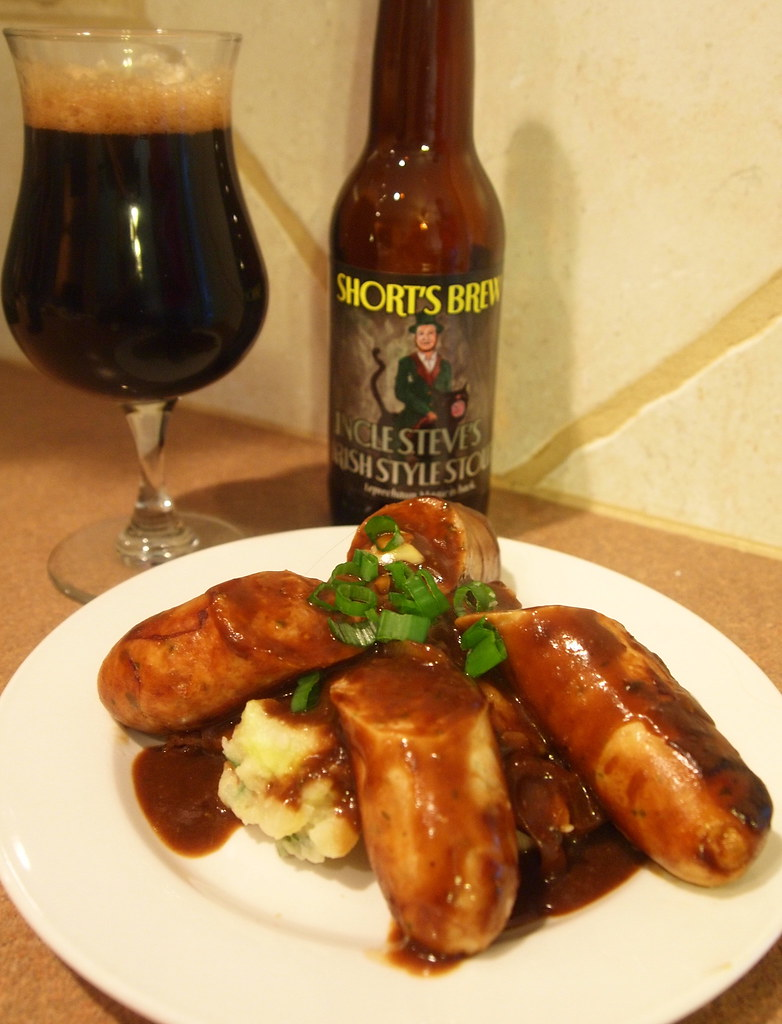 Bangers and Colcannon with Uncle Steve's Irish Stout Onion Gravy ...