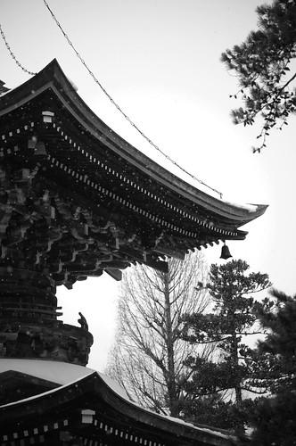 temple snow falling