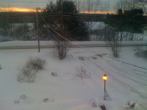 cameraphone morning snow sunrise season spring maine lamppost iphone popeville
