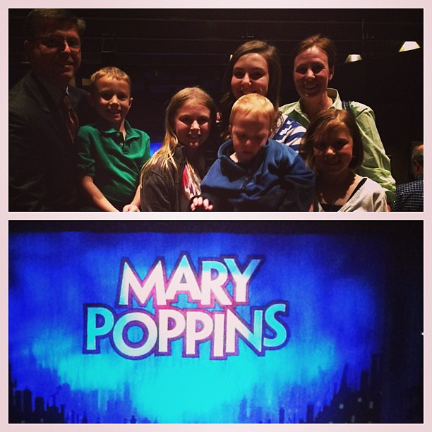 Two softball practices, one tee-ball practice, mad dash to change clothes, and a quick stop at chick-fil-a but we all made it to Mary Poppins!