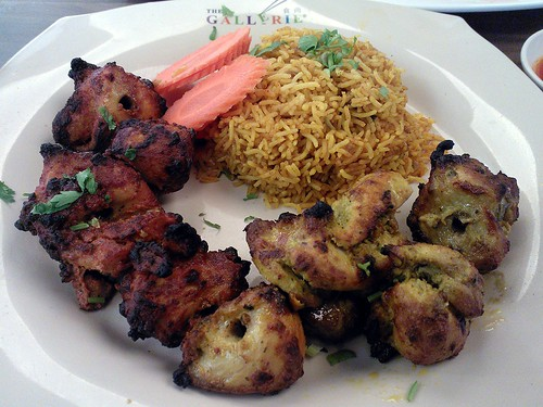 Clockwise from left: Lasuni Tikka, Karara Tikka, Biryani