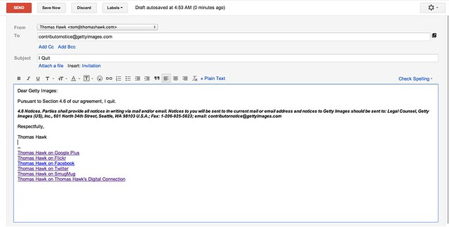 Dear Getty, I Quit