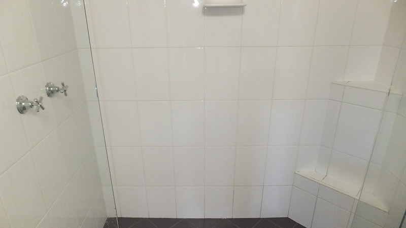 shower wall cleaning before