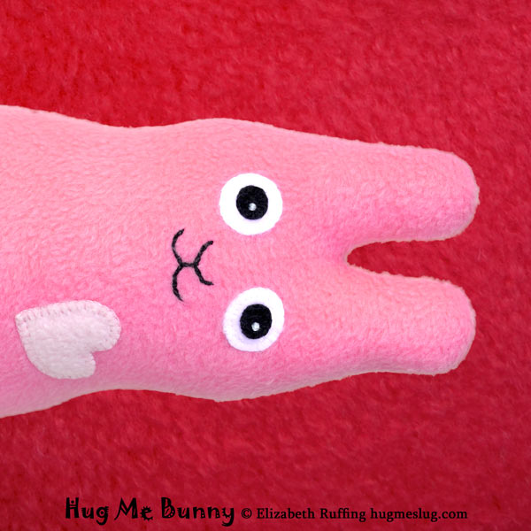 Pink Fleece Hug Me Bunny, original art toy by Elizabeth Ruffing