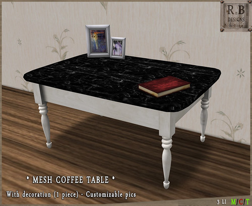*RnB* Anna Mesh Coffee Table - White Wood & Marble v1