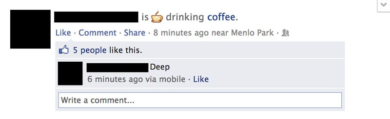 Facebook verb in news feed coffee