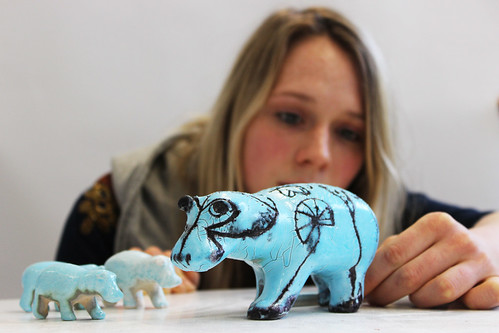 Faience glazed ceramic hippos printed using 3D print technology in UWE ceramic material on a ZCorp 510 3D printer