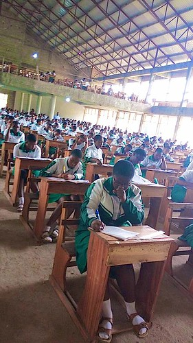The second year students of St Louis Senior High School, Kumasi, sitting their Social Studies exam