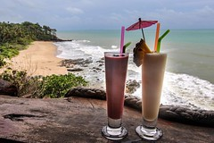 Smoothies overlooking the Andaman Sea at Diamond Cliff Beach on Koh Lanta, Thailand #travel #thailand #amazingthailand