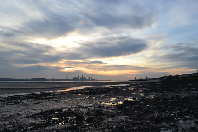Early Morning Sunrise over Liverpool from New Brighton Egremont
