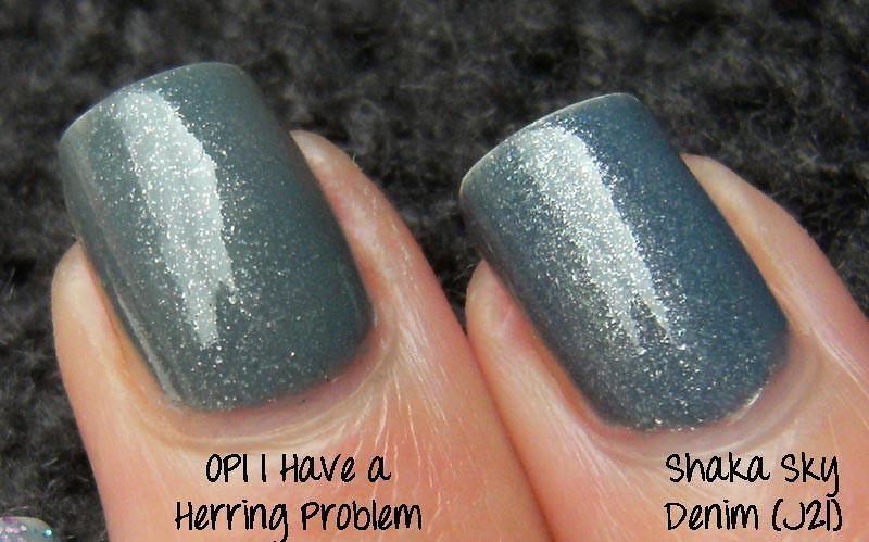 Opi I Have A Herring Problem vs Shaka Sky Denim
