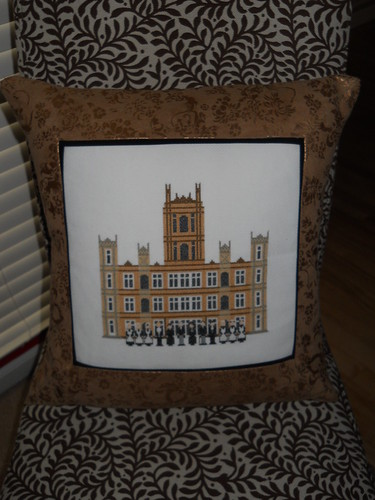 downton abbey cross stitch pillow