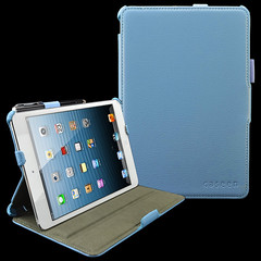 caseen Baby Blue SOFT SNAP Multi Angle Stand Hand Strap & Auto Sleep/Wake Case Cover for Apple iPad Mini