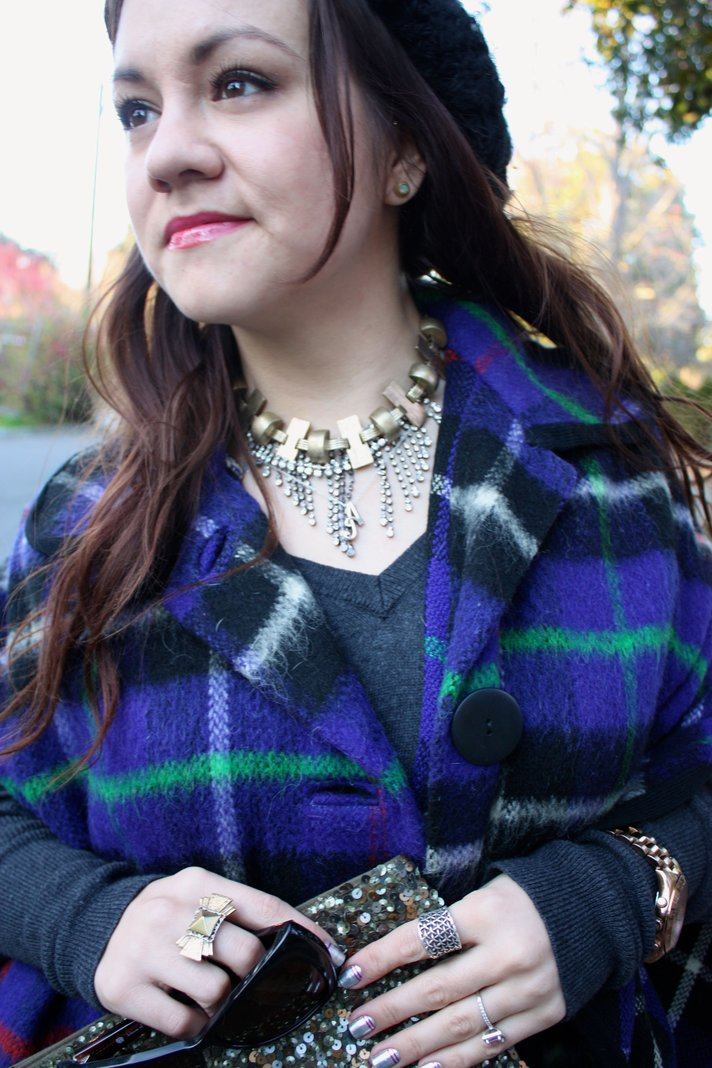 SF Bay Area Fashion and Lifestyle Blog: plaid cape, slouchy beanie, sequin zara clutch
