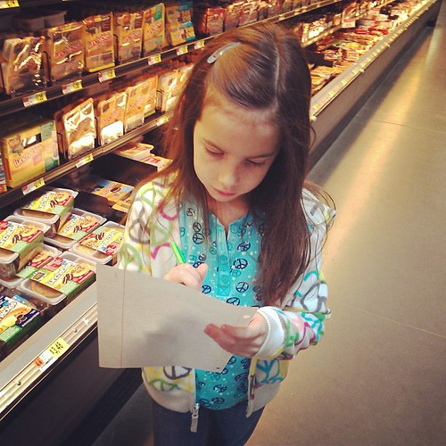 My little shopping helper.  She's great company when I run errands.