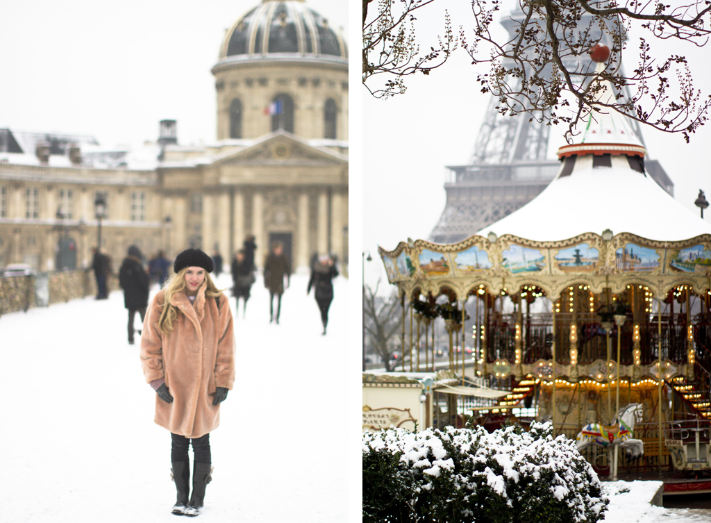 Haleigh in the snow on Pont des Arts and a snowy carousel