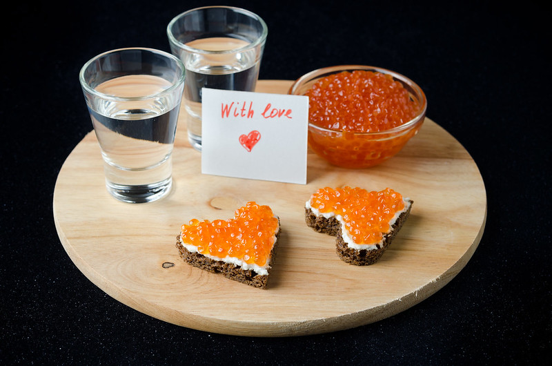 canape with red caviar for Valentine's Day
