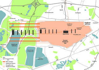 Proposed four runway Heathrow from Policy Exchange's 'Bigger and Quieter' report