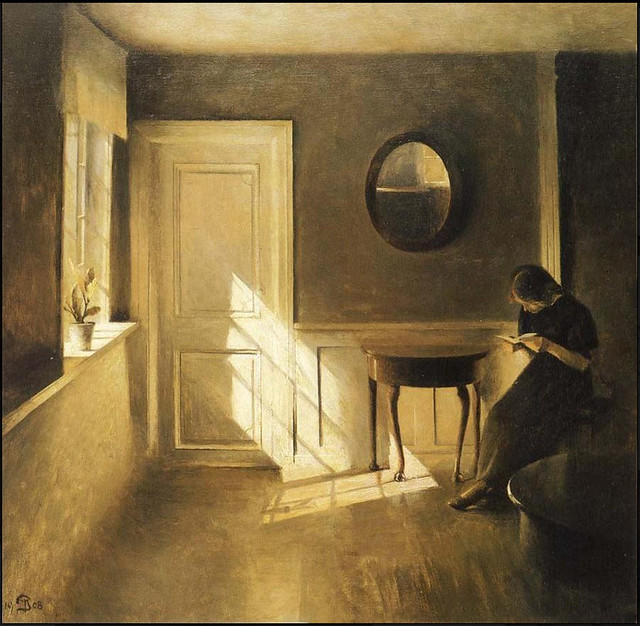 peter ilsted  u0026 39 girl reading a letter in an interior u0026 39  1908