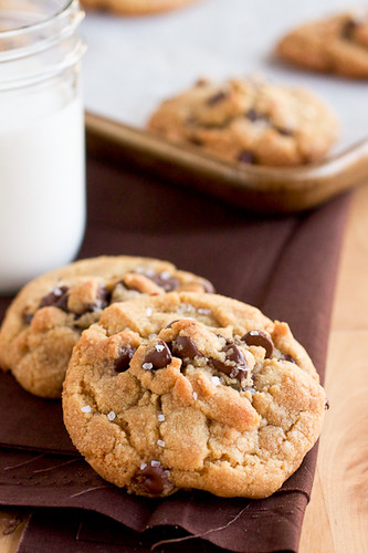Peanutella Stuffed Brown Butter and Sea Salt Chocolate Chip Cookies