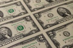 Uncut sheet of 2 dollar bills (Project 365: 328/365)