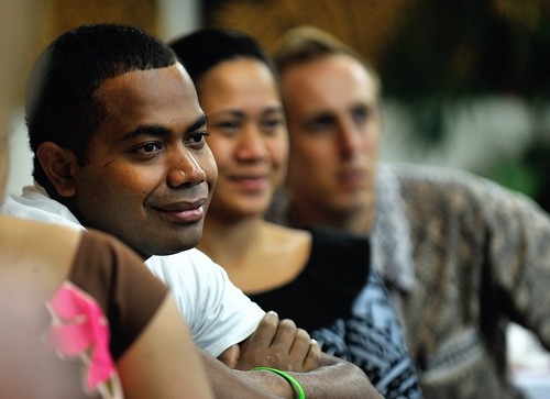 Jone of Fiji, Theresa of Samoa, and Embassy staff Benj Harding.