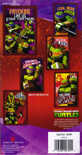 "AMERICAN GREETINGS :: ""NICKELODEON"" TEENAGE MUTANT NINJA TURTLES - VALENTINE STICKER CARDS ii (( 2012 ))"