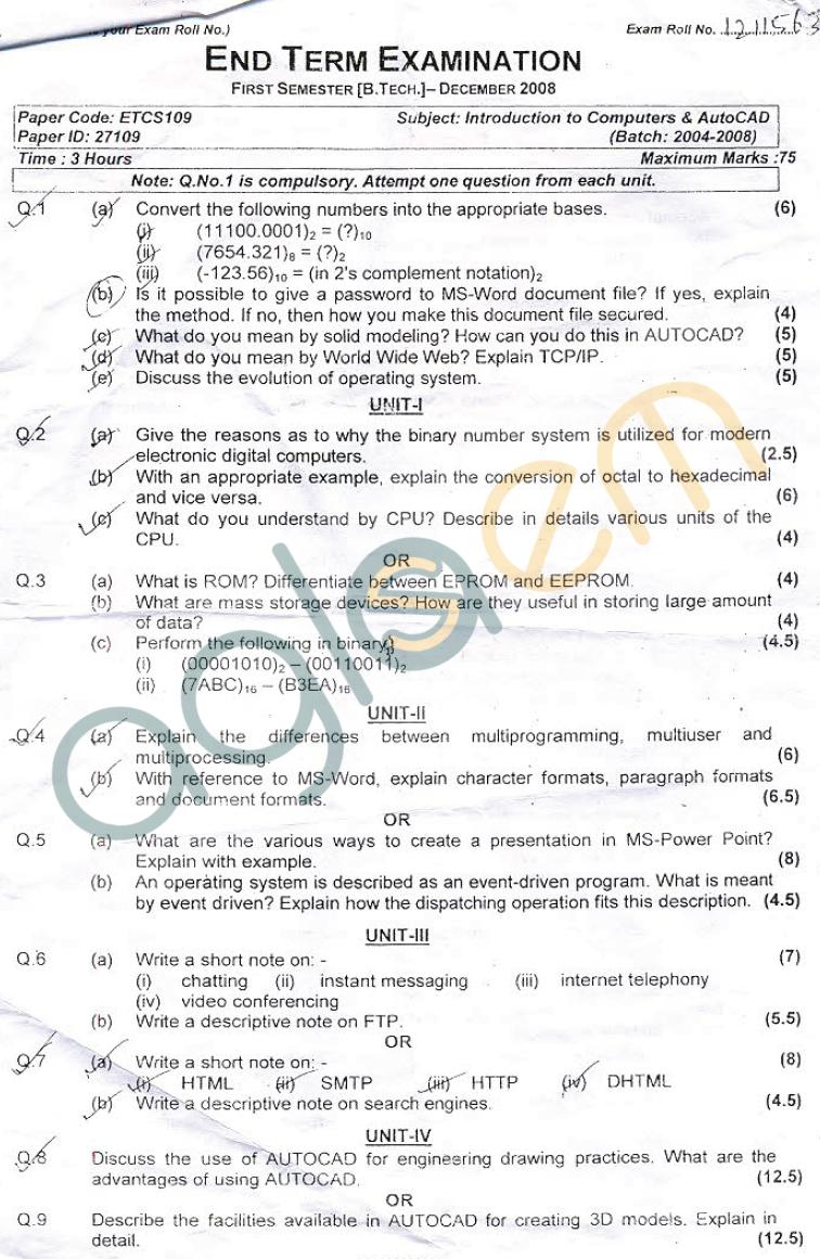 GGSIPU: Question Papers First Semester – end Term 2008 – ETCS-109