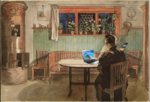 Blogging when the children have gone to bed, after Carl Larsson