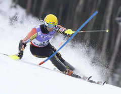 Mike Janyk skis to a 14th-place finish in men's slalom at world championships in Schladming, Austria.