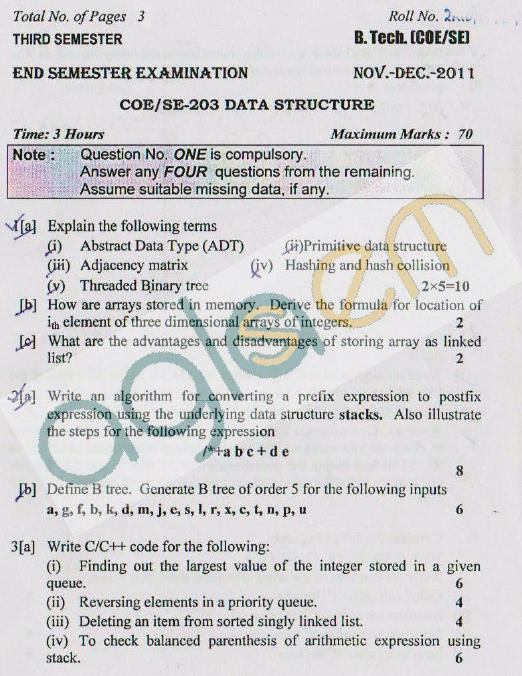 DTU Question Papers 2011 - 3 Semester - End Sem - COE-SE-203