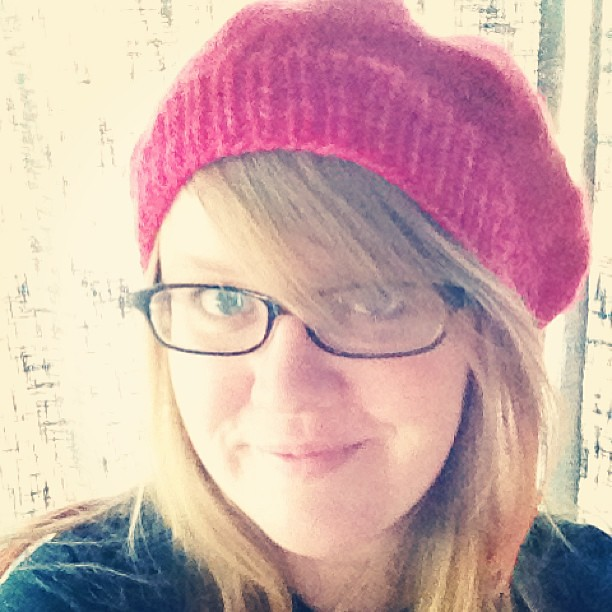 My newly-knit hat is a liiiitle more rasta than I had planned. #butperfectlypink