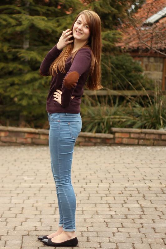 Glamorous elbow patch jumper, Topshop jeans, black flats